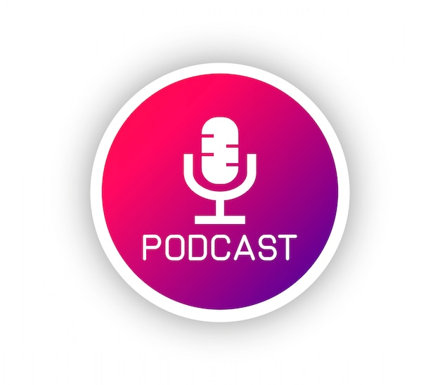 Podcast gradient logo Premium Vector