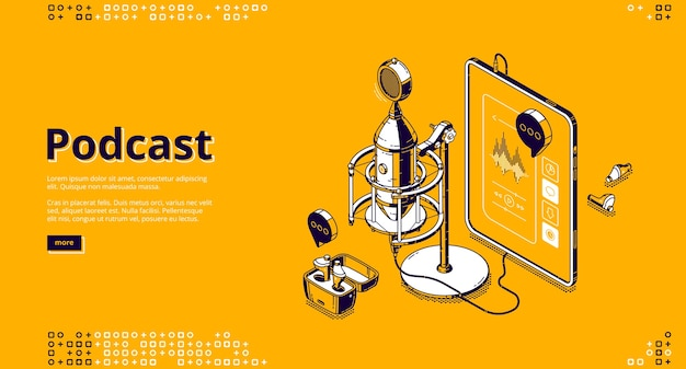 Podcast isometric landing page. tablet pc with app for listening online radio or music, wireless headphones and studio microphone, equalizer and control buttons on screen 3d line art web banner Free Vector