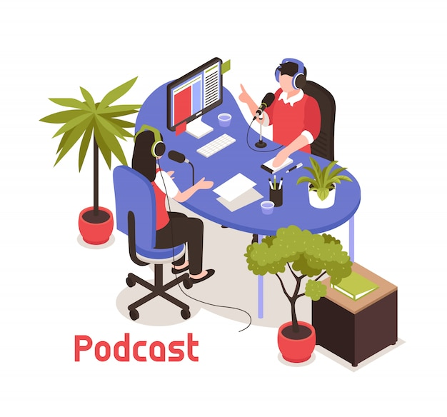 Podcast isometric  with two  bloggers recording soundtrack in studio Free Vector