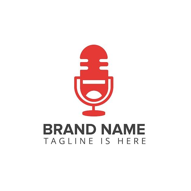 Podcast laugh logo microphone Premium Vector