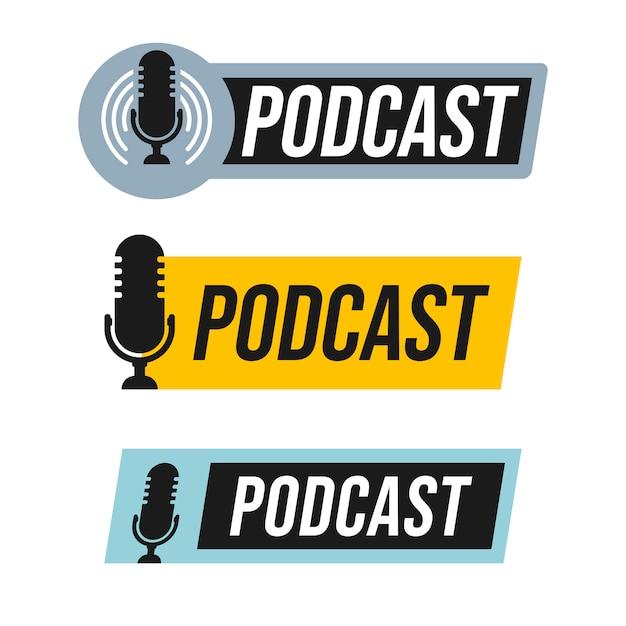 Podcast logo design set Premium Vector