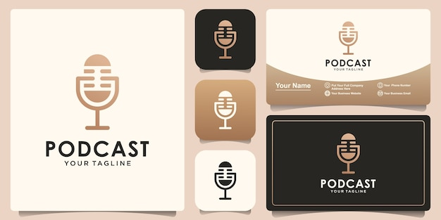 Podcast logo design template and business card design Premium Vector