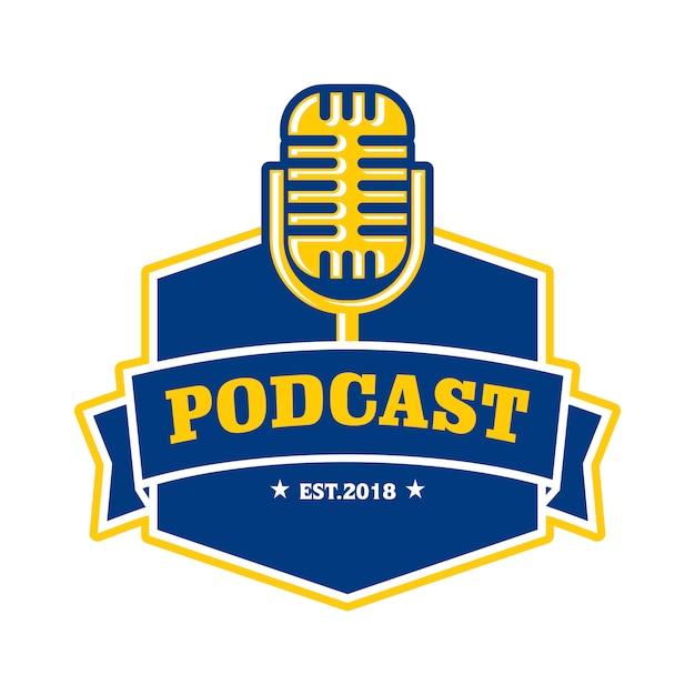 Podcast logo template Premium Vector