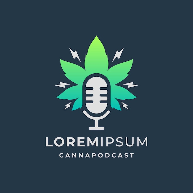 Podcast logo with cannabis leaf template Premium Vector