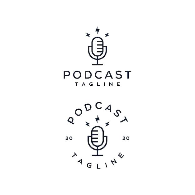 Podcast mic logo set Premium Vector