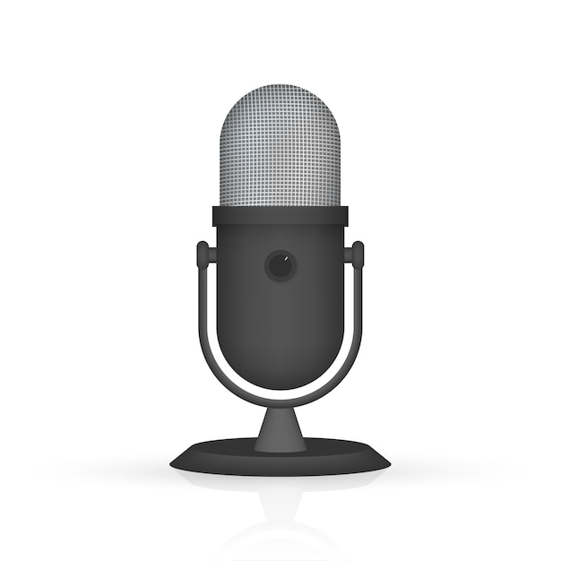Podcast. microphone with speech bubble icons.  illustration. Premium Vector