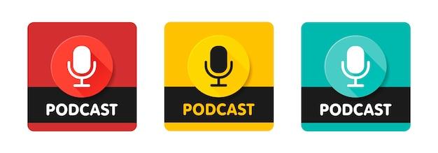 Podcast radio icon illustration set. studio table microphone with broadcast text. webcast audio record concept logo. Premium Vector