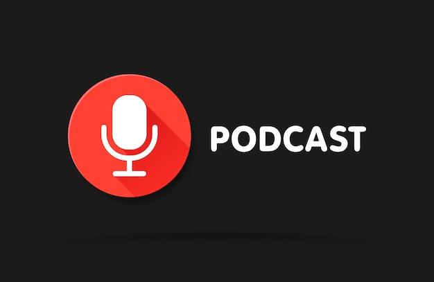 Podcast radio icon illustration. studio table microphone with broadcast text. webcast audio record concept web banner. Premium Vector