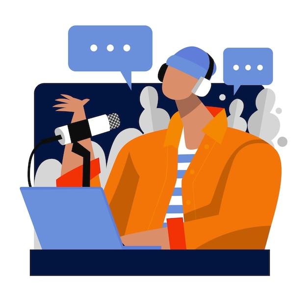 Podcast social media concept Free Vector