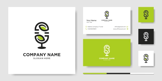 Podcast. vector flat illustration, icon, business card Premium Vector