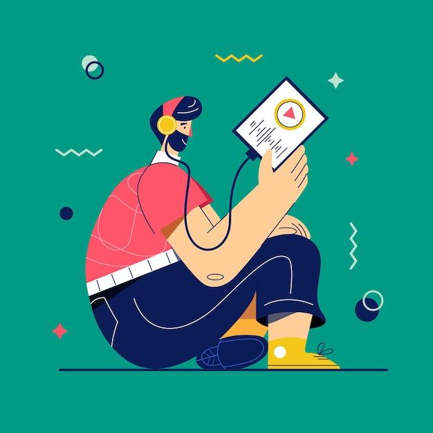 팟 캐스트 벡터 일러스트입니다. 태블릿이나 스마트 폰을 통해 음악이나 라디오를 듣는 헤드폰의 남자. 라디오 방송. 음악 애호가는 좋아하는 노래의 재생 목록을 즐길 수 있습니다. 온라인 학습, 자기 연구 개념. 프리미엄 벡터