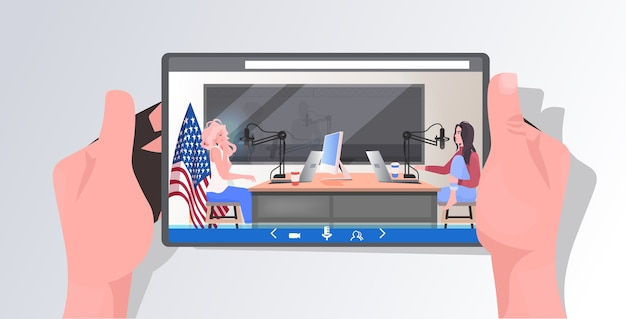 Podcasters on tablet screen talking to microphones recording podcast in radio studio podcasting concept women couple discussing during meeting Premium Vector