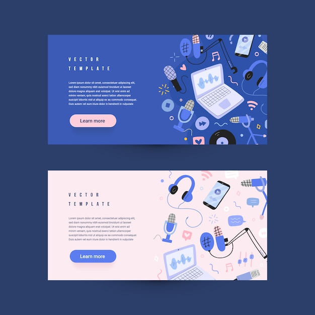 Podcasting web banners,  templates, microphones and headphones Premium Vector