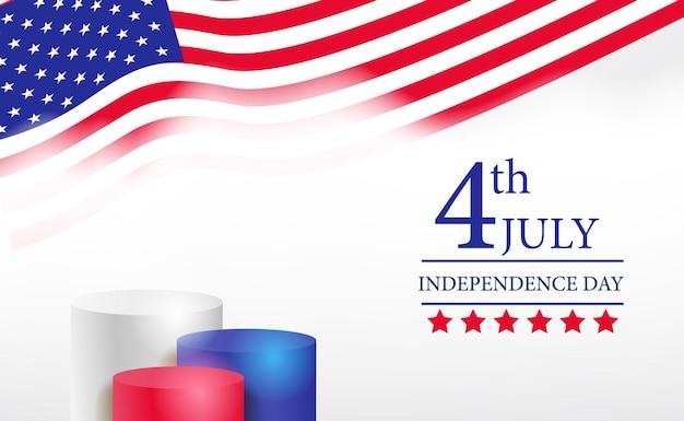 波のアメリカ国旗のテンプレートと7月4日のアメリカ独立記念日バナーの表彰台ディスプレイ3dシリンダー Premiumベクター