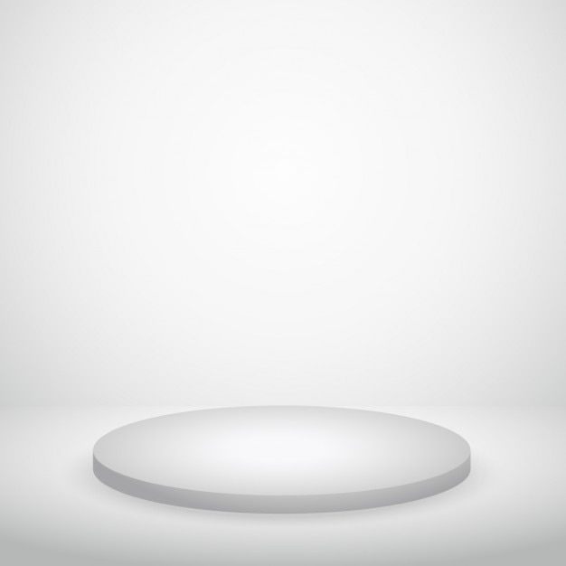 White Studio Background With Podium: Podium In White Wall Vector