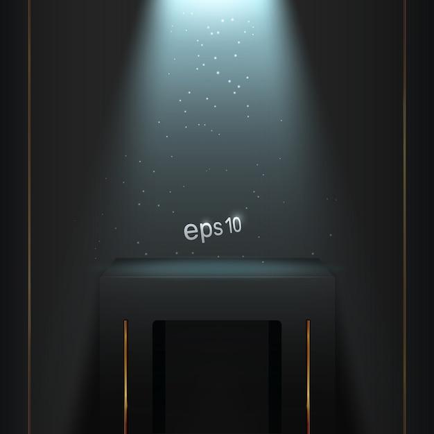 Подиум в темной комнате с синей подсветкой. Premium векторы