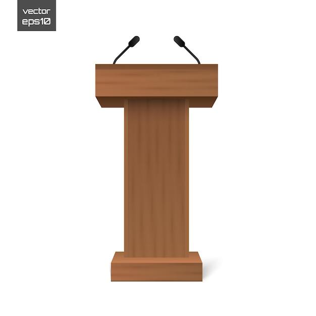 Podium tribune rostrum stand with microphones isolated Premium Vector