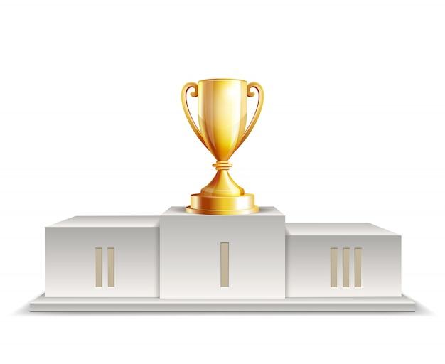흰색 바탕에 황금 트로피 컵 연단 우승자. 프리미엄 벡터