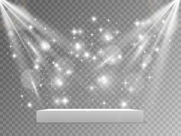 레드 카펫과 연단. 시상식 장면. 받침대. 투광 조명. 삽화. 별빛의 연단. 프리미엄 벡터