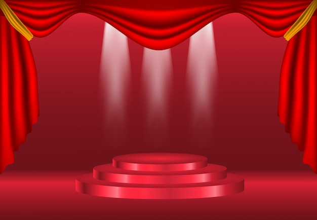 Podium with curtain on bright background decoration Premium Vector