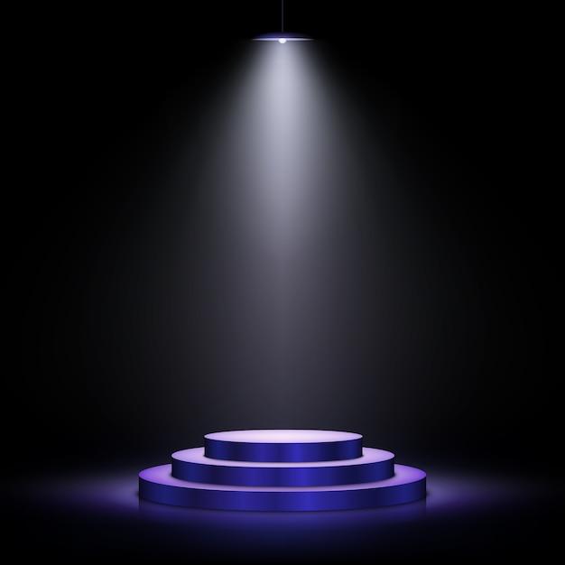Podium with lighting. scene with for award ceremony on dark background.  illustration. Premium Vector
