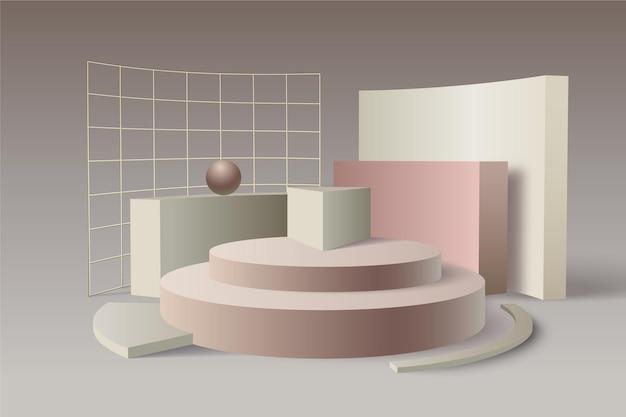 Подиум с металлическими сетками в 3d эффекте Бесплатные векторы