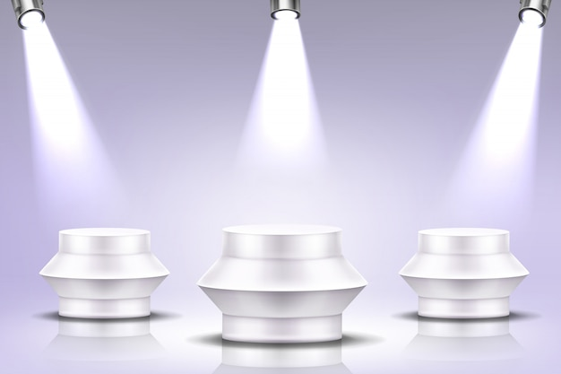 Podium with spotlight illumination, round stage Free Vector