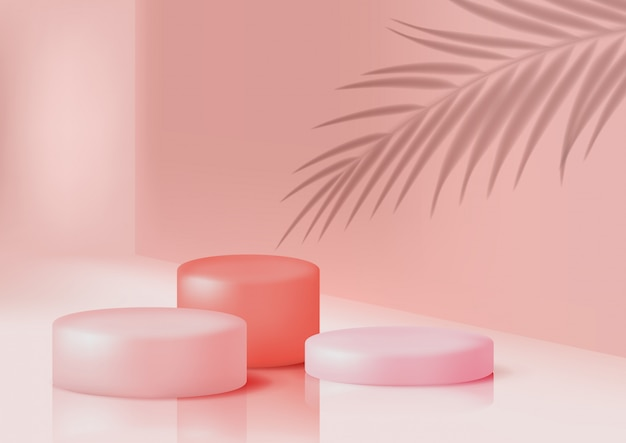 파스텔 핑크 색상의 제품 발표를위한 연단 프리미엄 벡터