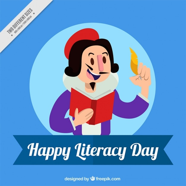 Poet holding a quill and a book Free Vector