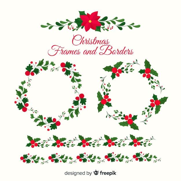 Poinsettia christmas frames and borders Free Vector