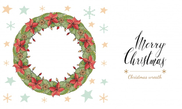 Poinsettia wreath Premium Vector