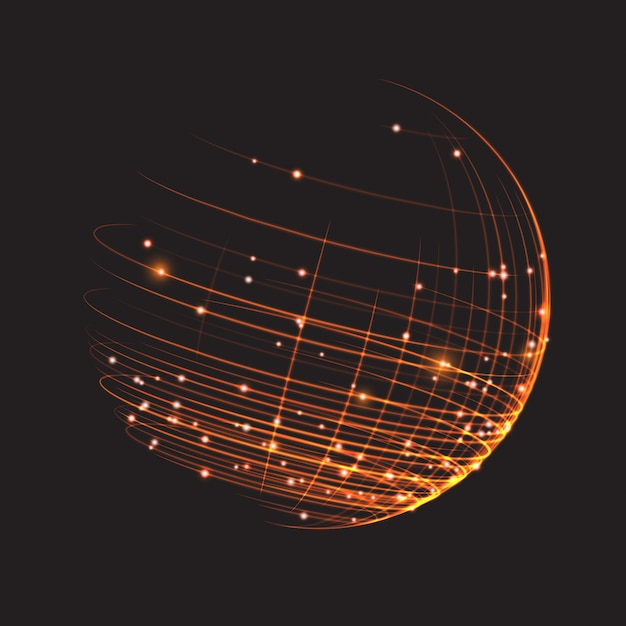 Point and curve constructed the sphere wireframe Premium Vector
