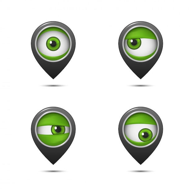 Point on the map with an eye Premium Vector