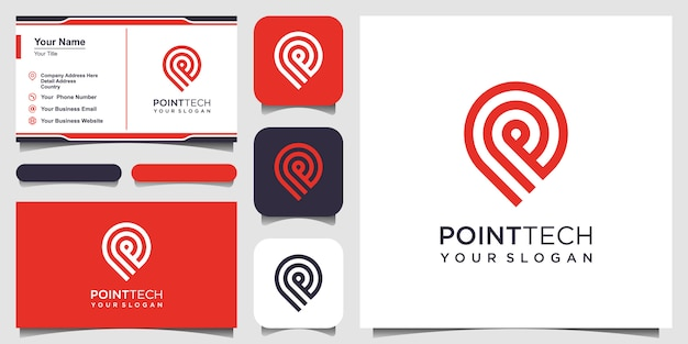 Point tech logo with line art style. creative  technology, electronics, digital, logotype, for icon or  concept. and business card design Premium Vector