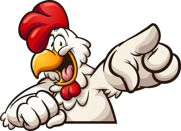 Pointing chicken Premium Vector
