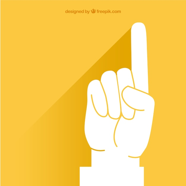 Pointing Finger Over Yellow Background Vector Free Download
