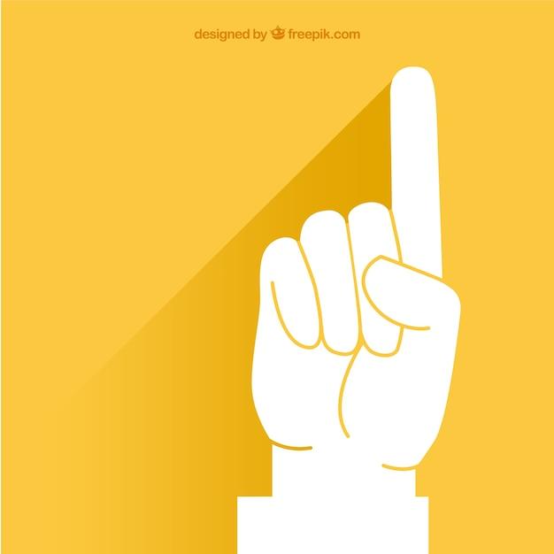 黄色の背景の上でポインティング指 無料ベクター