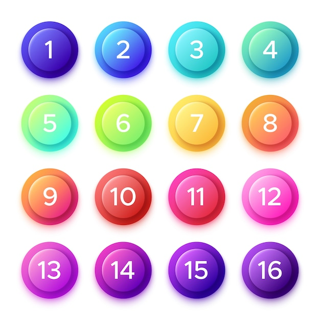 Pointing number on gradient bullet button. Premium Vector