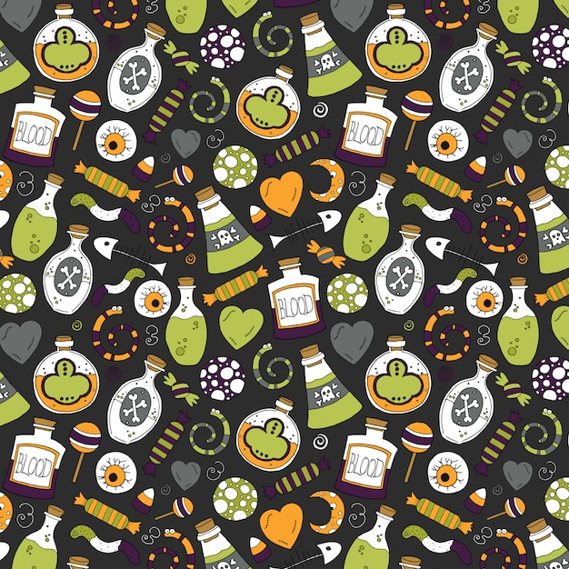 Poisonous halloween pattern Premium Vector