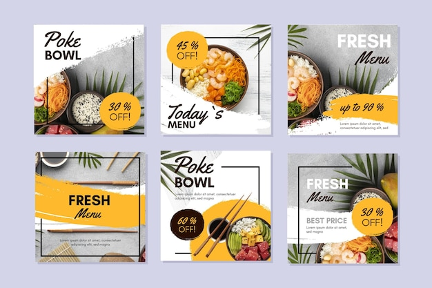 Poke bowl instagram posts collection Free Vector