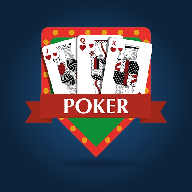 Poker card combination royal game risk emblem Premium Vector