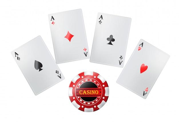 Покерные карты в казино. азартные игры, игральные карты, джекпот. концепция развлечений. Бесплатные векторы