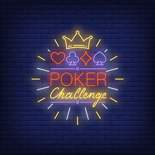 Poker challenge neon text with crown and suits symbols Free Vector