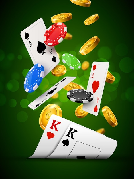Poker chips casino green poster. gamble cards and coins success winner royal casino background. Premium Vector