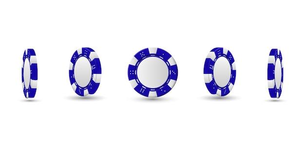 Покерные фишки в другом положении. голубые фишки изолированы Premium векторы