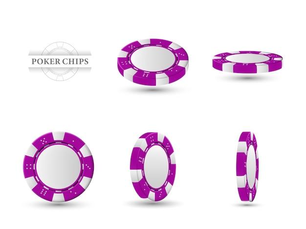 Покерные фишки в другом положении. пурпурные чипы изолированы Premium векторы