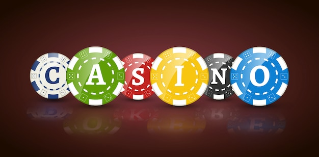 Poker chips with word casino Premium Vector