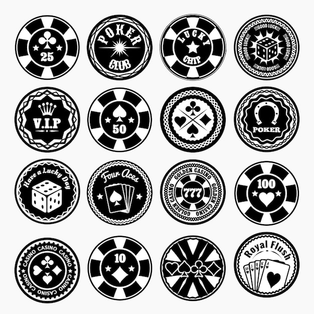 Set di badge neri di poker club e casinò Vettore gratuito