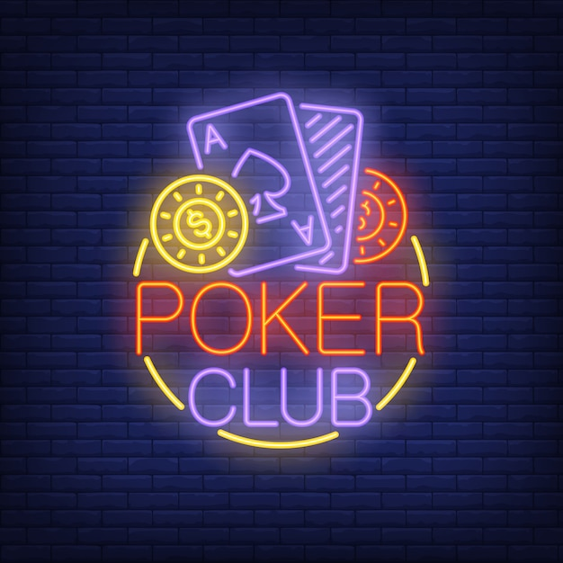 Free Vector Poker Club Neon Sign Playing Cards And Coins In Round Frame On Brick Wall Background