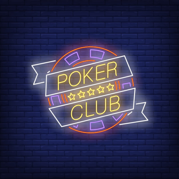 Poker club neon text on ribbon with chip and five stars Free Vector